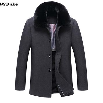 Long Thicken Warm Winter Coat Wool Big Fur Collar Dark Grey Color Overcoat For Men
