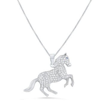 """Sterling Silver Cz Running Stallion Horse Necklace 18"""""""