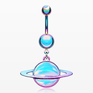 Colorline Iridescent Galaxy Planet Belly Button Ring