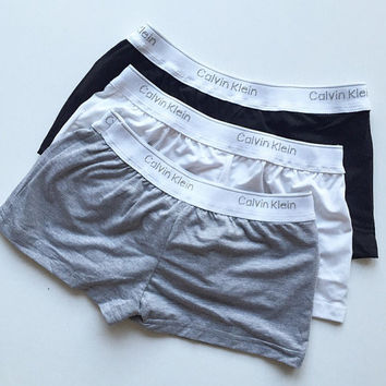 SALE! Handmade reworked Calvin Klein boxer short panties in black, white & gray