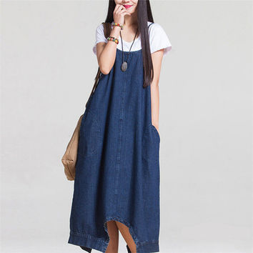 2017 Summer New Korean Women Loose Pure Color Denim Cotton Dress Cowboy Long Maxi Denim Dresses With Pockets