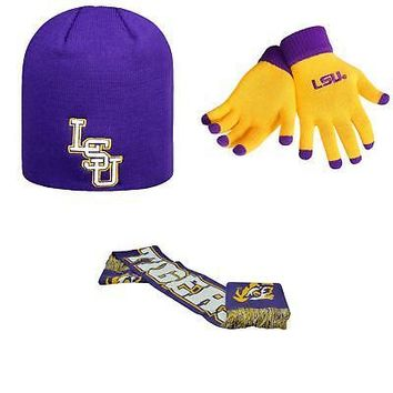 Licensed NCAA LSU Tigers Spirit Scarf Classic Beanie Hat And Glove Solid Knit 3Pk 14313 KO_19_1