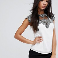 Lipsy top with Lace Detail at asos.com