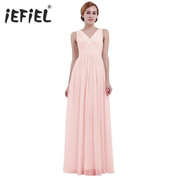 iEFiEL Formal Dress for Women's Sleeveless Deep V-Neck Vestidos Wedding Birthday Party Long Dress Evening Prom Gown Dresses