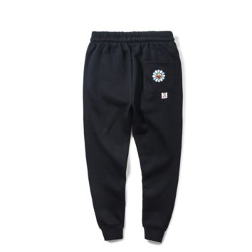 Sunflowers and velvet students tide brand trousers sports leisure pants high school students pants Black