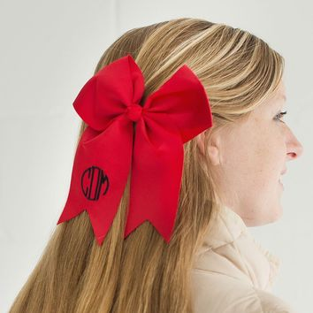 Red Monogrammed Hair Bow