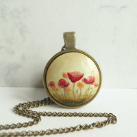 Red Poppies Necklace, Vintage Style, Antique Bronze Color Pendant Tray and Chain, Red Flower Jewelry, Mother's Day Gift, Gift for Mom