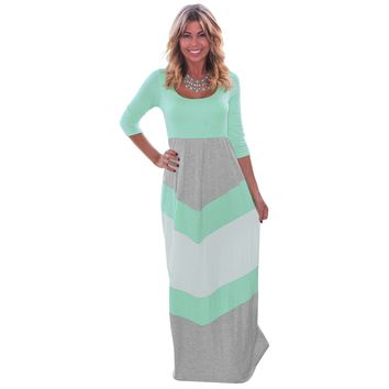 MultiColor Wavy Stripes Maxi Dress