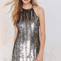 Silver Sequined Halter Mini Dress
