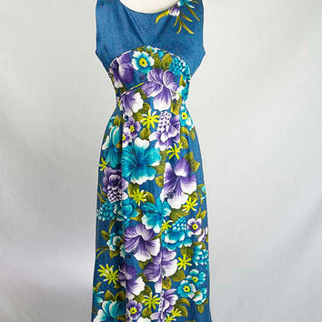 Vintage 1960s Hawaiian Dress Blue Hawaii Hostess Maxi Sundress