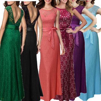 Elegant Lace Sheath Sweetheart Neckline Pleats Bodice Long Bridesmaid Dress