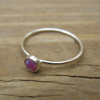 Stacking Ring Silver MMS09 Fire Opal