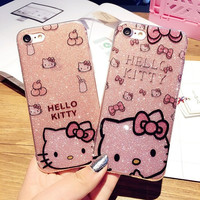 Loyally Elegant Glitter Crystal bowknot hello Kitty Phone Cover for iPhone 6 6S 6plus 6Splus 7 7plus