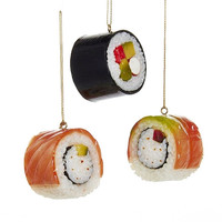 Plastic Sushi Roll Christmas Ornaments, 1-3/4-Inch, 3-Piece