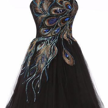 Black Embroidery Peacock Pattern Cheap Short Prom Dresses Tulle Mini Homecoming Ball Gown Party Dress for Graduation
