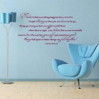 Housewares Vinyl Decal Marilyn Monroe Quote I Believe Happens for Reason Home Wall Art Decor Removable Stylish Sticker Mural Unique Design for Any Room
