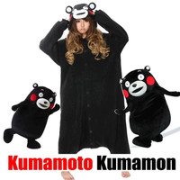 Cartoon Animal Black Kumamon Bear Onesuit Unisex Adult Pajamas Cosplay Costumes Pyjamas Kumamoto Sleepsuit Sleepwear