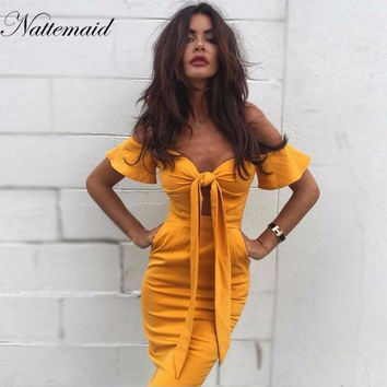 2017 Summer Short Sleeves Strapless Bow neck Dress Women Casual High Waist Beach Vacation back zipper Dresses whole
