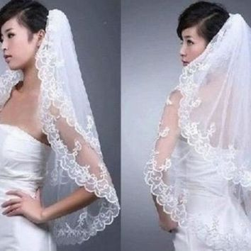 New 2t White/lvory Applique Wedding Bridal Bride Veil With Comb = 1929686916