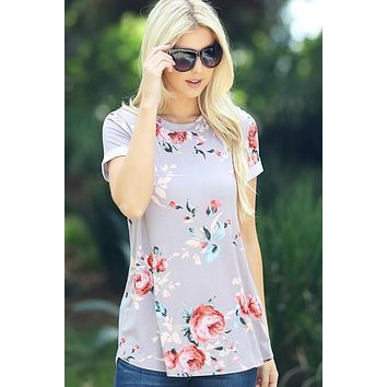 Spring Floral Tee Shirt - Taupe