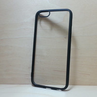 Silicone Bumper and Clear Hard Plastic Back Case for iPhone 6 (4.7 inches) - Black