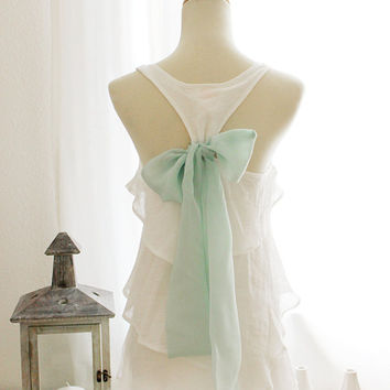 SEASIDE CHARM White Blouse with Mint Green by FleetCollection