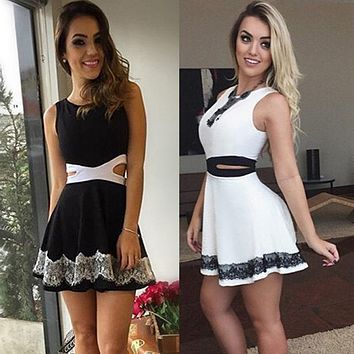 Summer Women Dress Straight Sleeveless O-neck Lace Print Patchwork Casual Mini Brief Dress