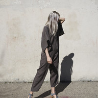 Black Crane Jumpsuit in Grey
