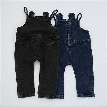 2017 Kids Jeans Newborn Baby Boys Girls Pure Color Overalls Children Clothes High Waist Denim Pants Suspenders Jumpsuits A527