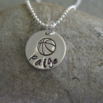Basketball Necklace Personalized Sterling Silver Hand Stamped Team Coach Gift Jewelry