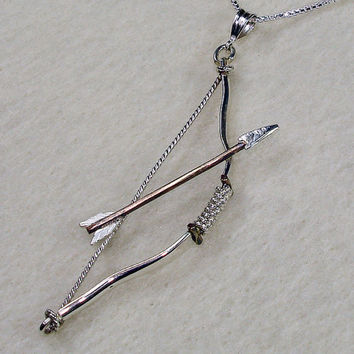 Archery Bow and Arrow Necklace Made with Sterling Silver and 14kt Gold Filled