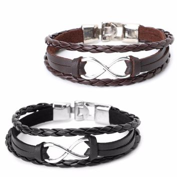JAVRICK Fashion Women Men Wrap Multilayer Faux Leather Surfer Bracelet Bangle Wristband High Quality 2017