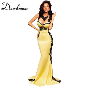 Dear lover Yellow and Black Lace Sponges Bust Summer Maxi Mermaid Dress Party Evening Elegant 2016 Robe Longue Femme LC60914