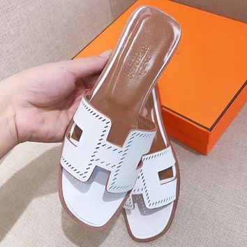 Hermes Popular Women Multicolor Casual Sandal Slipper Shoes White I-ALS-XZ