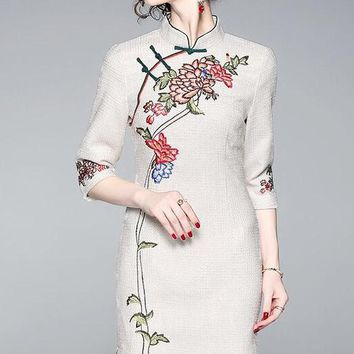 Elegant Floral Embroidered Qipao Dress