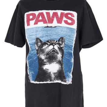 Black Paws Cat Jaws T-Shirt - M | Womens | Rokit Vintage Clothing