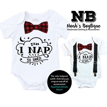 Cute Baby Boy Clothes I Nap So Hard Buffalo Plaid Bow Tie