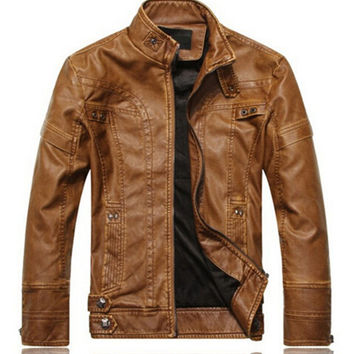 New fashion brand motorcycle genuine leather clothing mens leather jackets and coats men's leather jacket