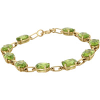Peridot Tennis Line Bracelet Vintage 14 Karat Yellow Gold Estate Fine Jewelry 7