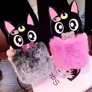 Cute Cat Rabbit Fur & bowknot case for iphone5s  6 6s plus 7 7 Plus 8 8 Plus mobile phone protective case cover