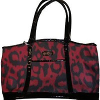 Jessica Simpson Purse Handbag Carry-on Luggage Night Cat Oversized Tote Red/Black