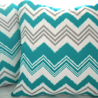 Decorative Teal grey white chevron Outdoor pillow cover 18 x 18