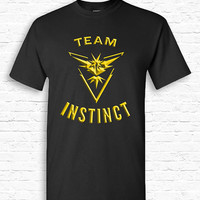 Team Instinct Pokemon Go T-shirt Tshirt Tee Shirt Catch em All Funny Cute Nerd Gift for Geek App Teenager Mystic Valor Metallic Style TF-175