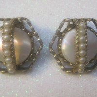Gold And Shell Earrings With Baby Pearl Accents, Vintage Earrings