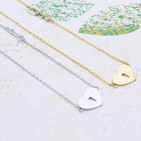 Heart & Key necklace in  silver or gold tone