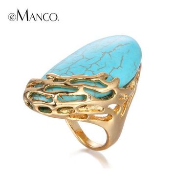 CREYONEJ OPAL FERRIE - Natural Stone Ethnic Vintage Geometric Large Turquoise Gold Plated Statement Ring