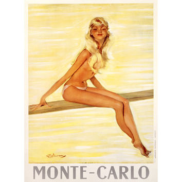 Monte Carlo Girl by Artist Jean Gabriel Domergue Wood Sign