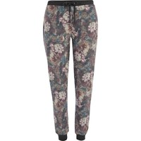 Grey floral print joggers - cropped pants / joggers - pants - women