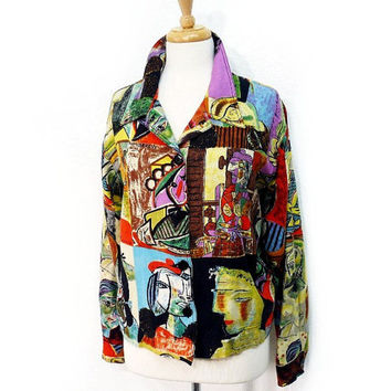 Vintage Linen Jacket Kaktus Picasso Art deco Faces Blazer Women M