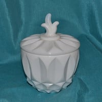 White Milk Glass Marmalade Jar Indiana Lotus Blossom  1950 -1960's Very Hard To Find!